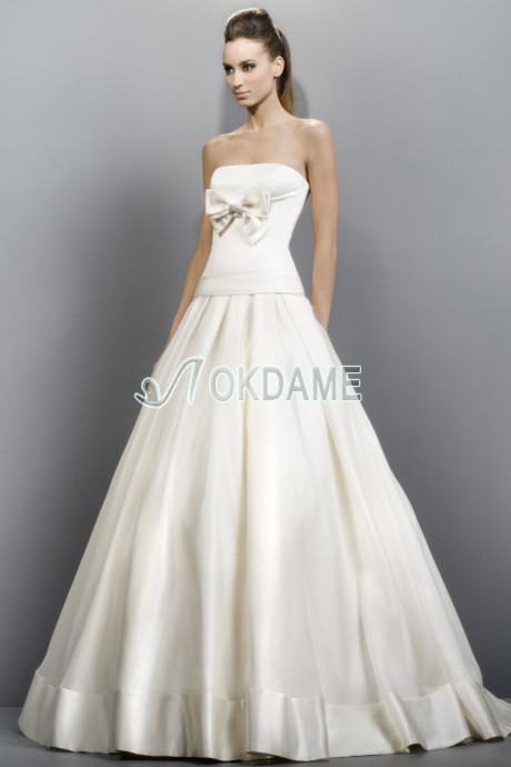 ... Sweep train stilvolles Brautkleid für kleine Größe für dünne Frau