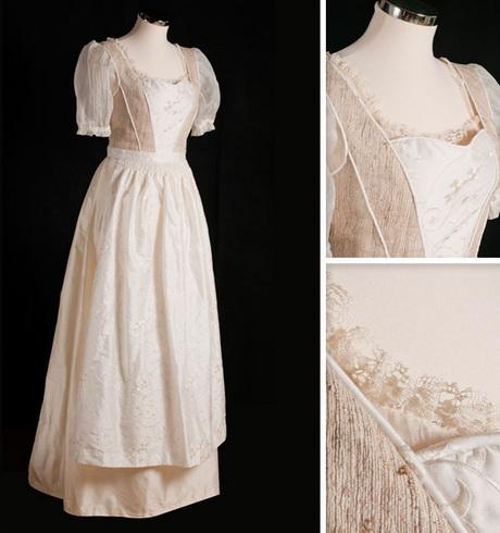 Trachten-Brautkleid aus Seide mit passepoilierten Teilungsnähten und ...