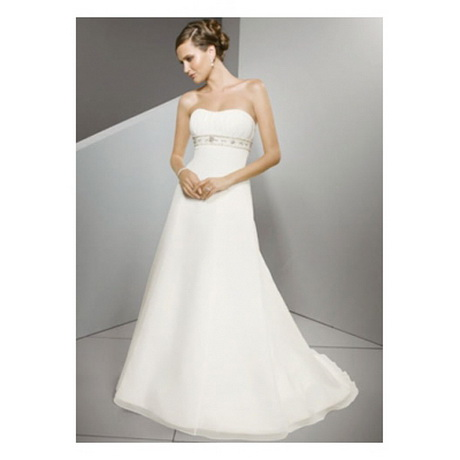 Amazing White Empire-Taille Strapless Empire-Taille Satin Chiffon ...