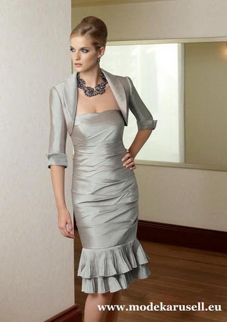 Online Cocktailkleid Abendkleid Knielang in Silber Grau mit Bolero ...