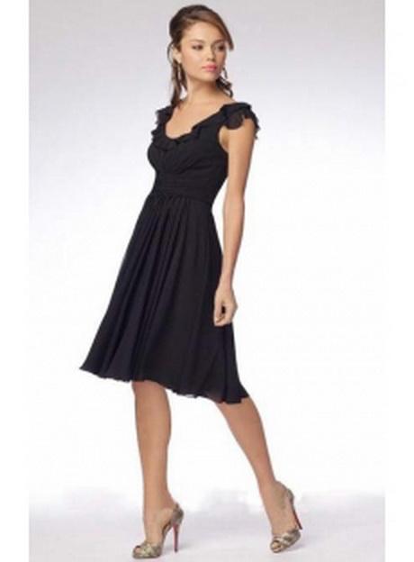 Falten chiffon knielange u ausschnitt schwarzes kleider 14170
