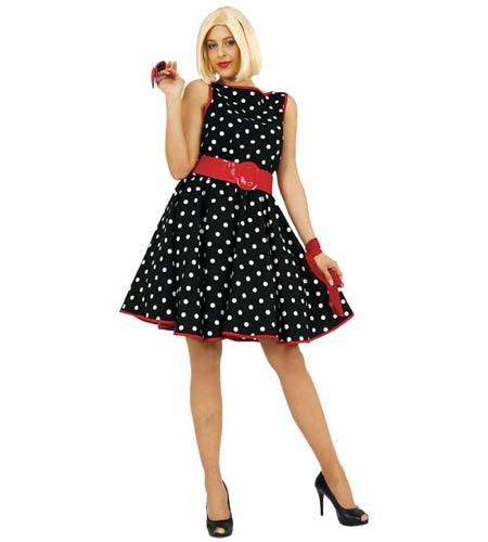 Kleid mit punkten schwarz-weiß