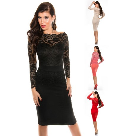 Kleider » Damen Kleid Minikleid Midi-Kleid knielang langarm Spitze .