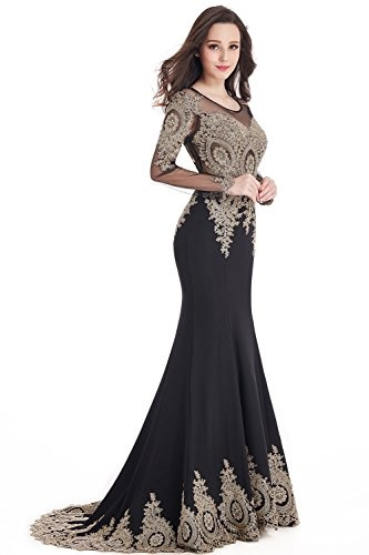 Abendkleid lang langarm schwarz