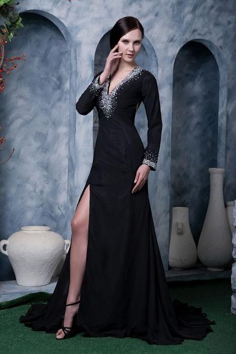 Abendkleid lang schwarz mit ärmel