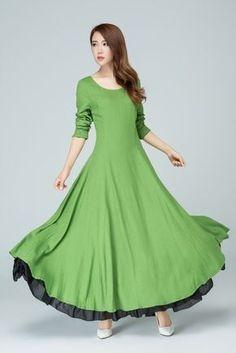 Dunkelgrünes kleid lang