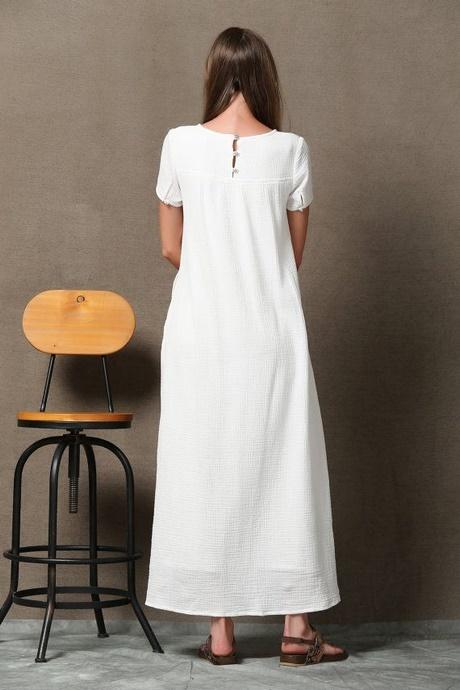 Leinenkleid weiß lang