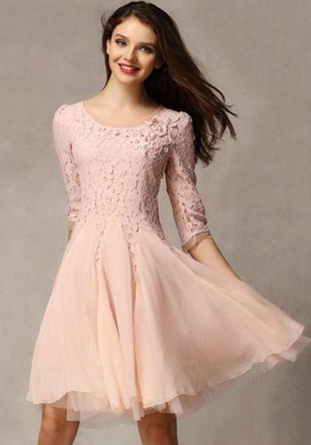 spitzenkleid kurz rosa