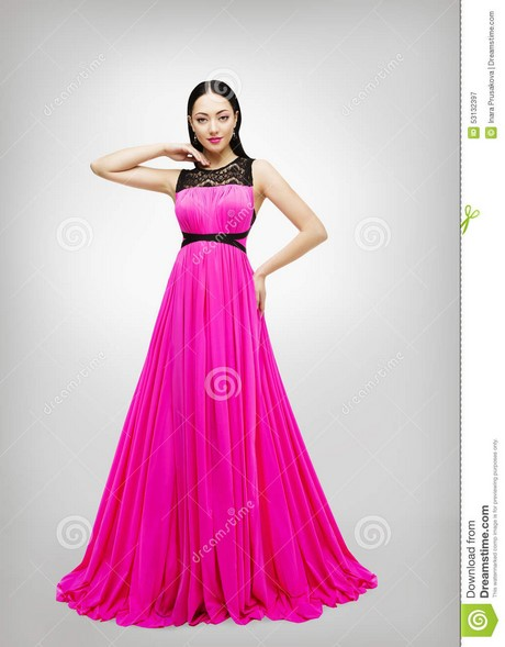 langes kleid junge frauen mode modell pink gown high taille. Black Bedroom Furniture Sets. Home Design Ideas