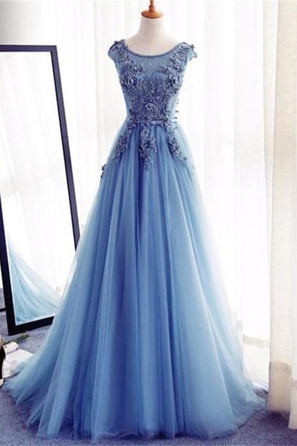 Abschlusskleider blau lang