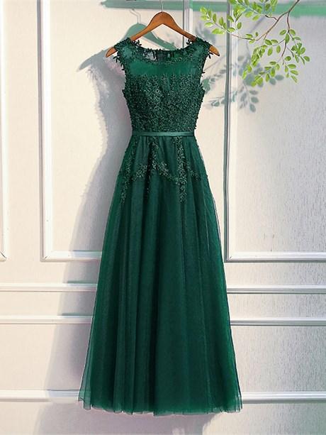 Ballkleid lang dunkelgrün