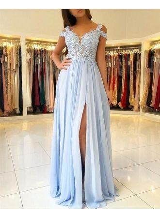 günstige abendkleider lang blau