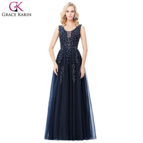 Kleid blau lang