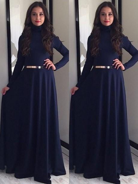 Abendkleid langarm blau