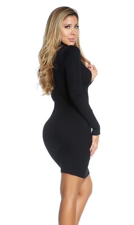 Minikleid langarm schwarz