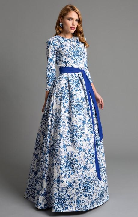 Abendkleid blau weiß
