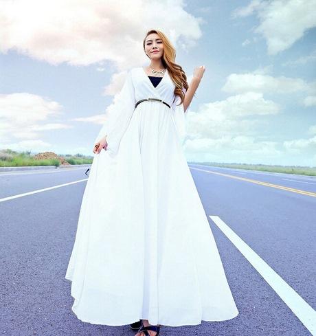 Chiffon kleid lang weiß