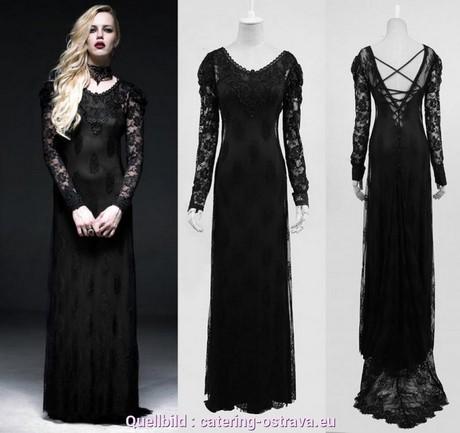 Langes schwarzes kleid mit ärmeln