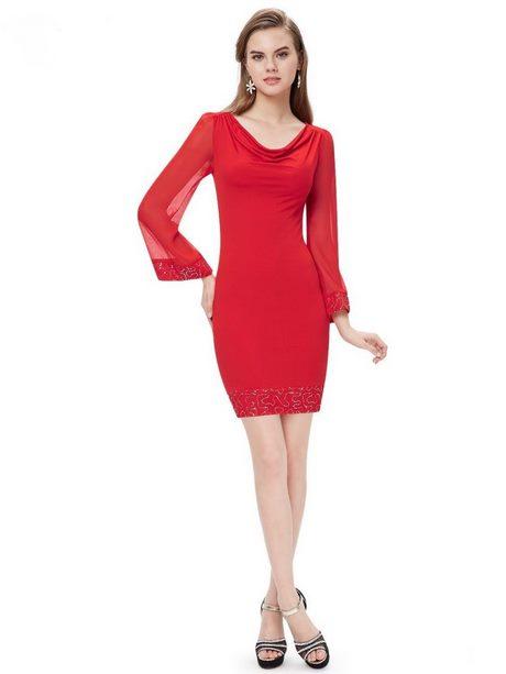 rotes kleid kurz langarm