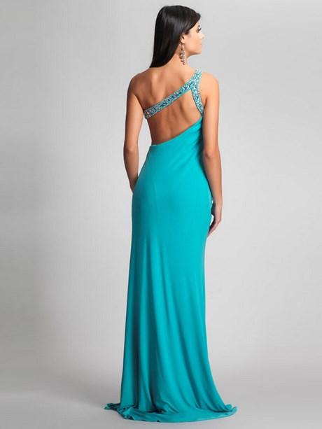 Abendkleid rückenfrei lang blau