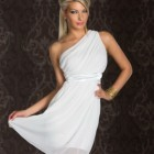 One shoulder kleid weiss