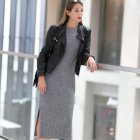 Graues strickkleid outfit