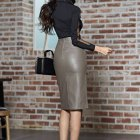 Pencil skirt leder